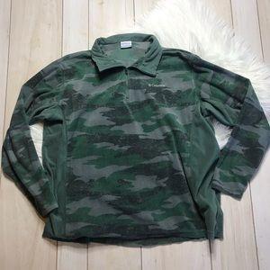 Columbia Men's Green Camouflage Fleece Pullover